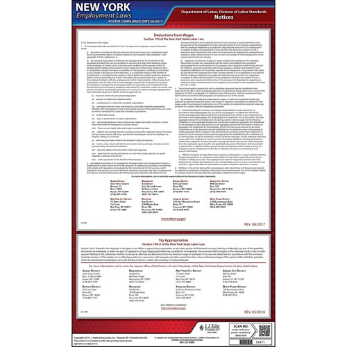 New York Wage Deductions & Tip Appropriation Poster (05198)