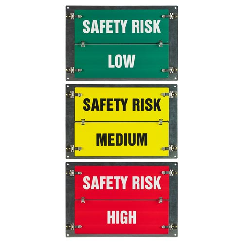 Flip-File Sign, Safety Risk Low/Medium/High, 3-Legend (013241)