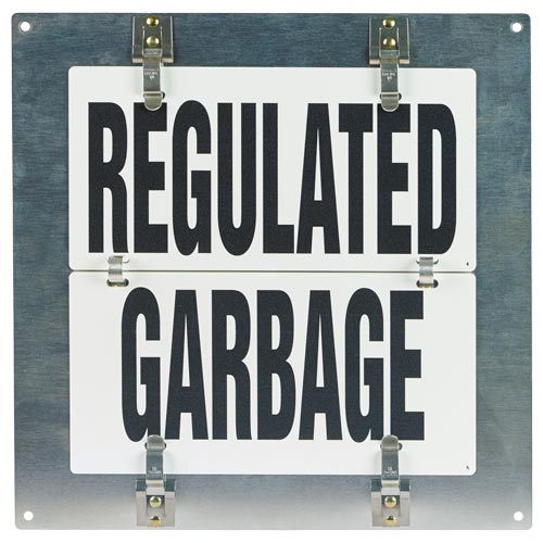Flip-File Sign, Regulated Garbage, Small, 1-Legend (013246)