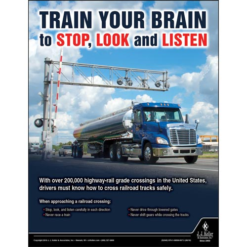 Train Your Brain to Stop, Look and Listen - Driver Awareness Safety Poster (013376)