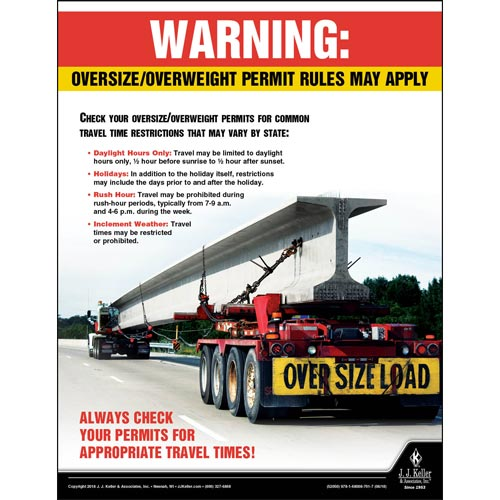 Oversize and Overweight Permit Rules May Apply - Motor Carrier Safety Poster (013381)