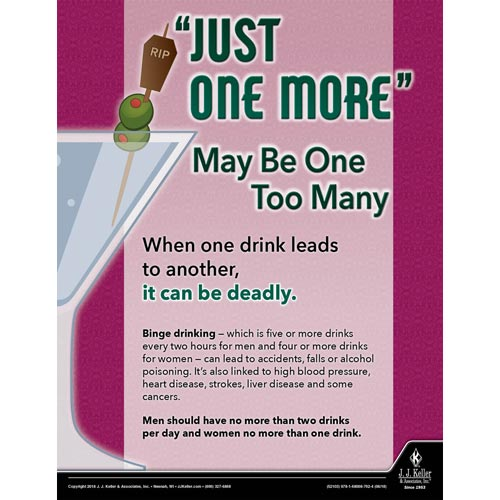 Just One More May Be One Too Many - Health & Wellness Awareness Poster (013382)