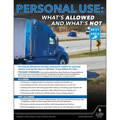 Personal Use: What's Allowed and What's Not - Motor Carrier Safety Poster (013391)