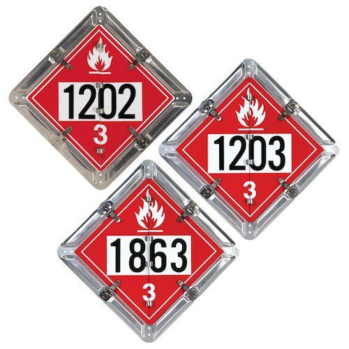 Standard Flip-File Placard, 3-Legend Numbered Set, Unpainted Back Plate (013418)