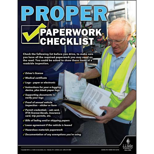 Proper Paperwork Checklist - Motor Carrier Safety Poster (013456)
