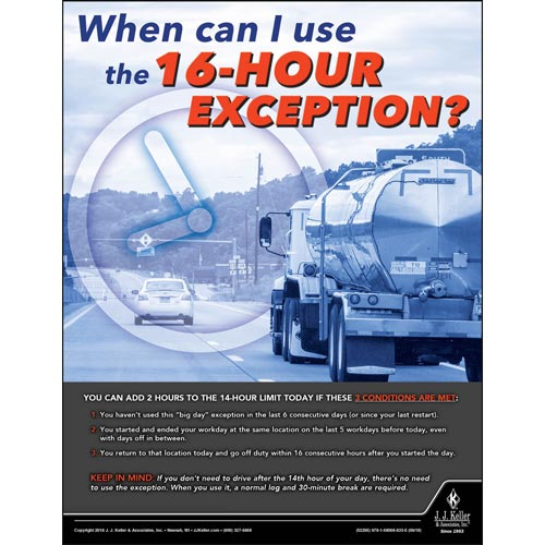 16-Hour Exception - Motor Carrier Safety Poster (013473)