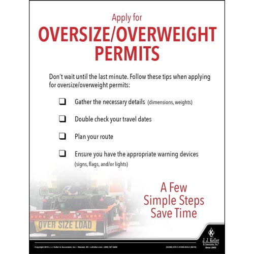 Apply for Oversize/Overweight Permits - Motor Carrier Safety Poster (013474)