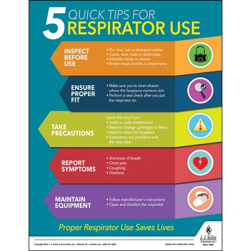 5 Quick Tips For Respirator Use - Workplace Safety Training Poster (013478)