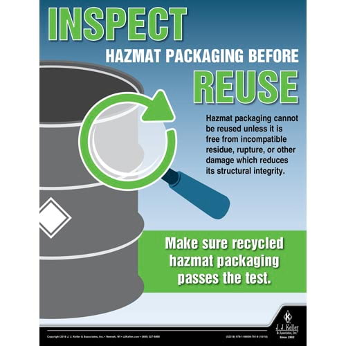 Inspect Hazmat Packaging Before Reuse - Hazmat Transportation Poster (013482)