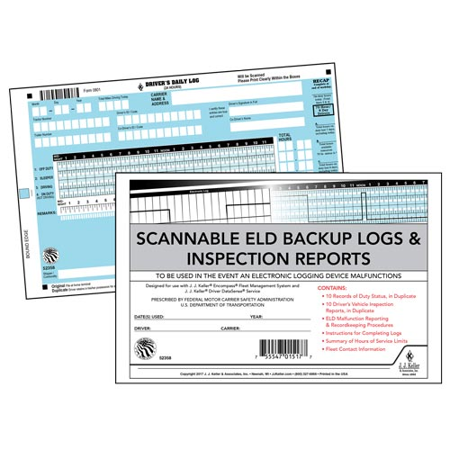 Scannable ELD Backup Log Book with Detailed DVIR, 2-Ply, with Recap - Personalized (013496)
