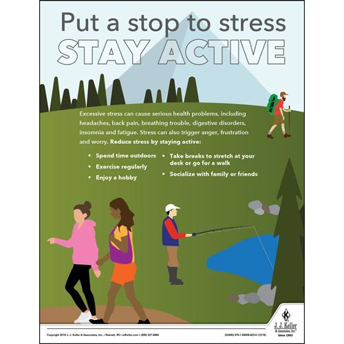 Put a Stop to Stress and Stay Active - Health & Wellness Awareness Poster (013912)