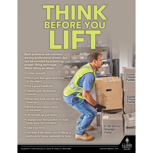 Think Before You Lift - Driver Awareness Safety Poster (013906)