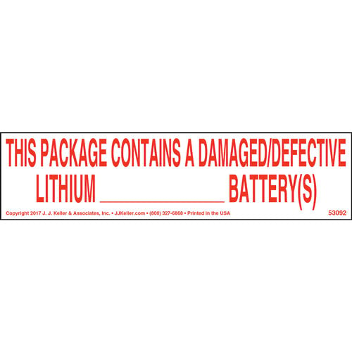 Damaged/Defective Lithium Battery Label (013920)