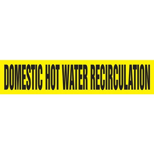 Domestic Hot Water Recirculation Pipe Marker - ASME/ANSI (013744)