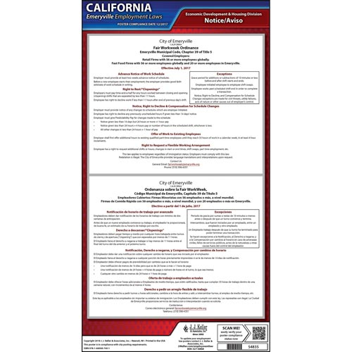 California / Emeryville Fair Workweek Ordinance Poster (013943)