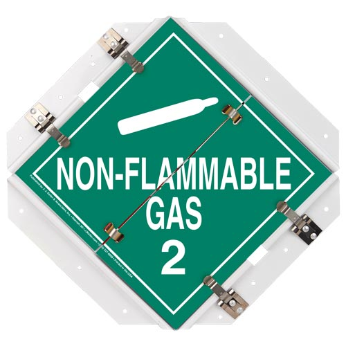 "Aluminum Flip Placard - 1 Legend, Non-Flammable Gas, 16""x15.5"", White Back Plate (013995)"