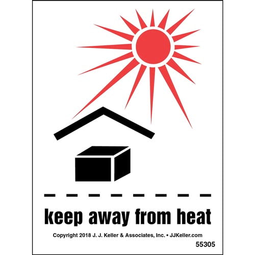 Keep Away From Heat Shipping Label with Icons (014000)