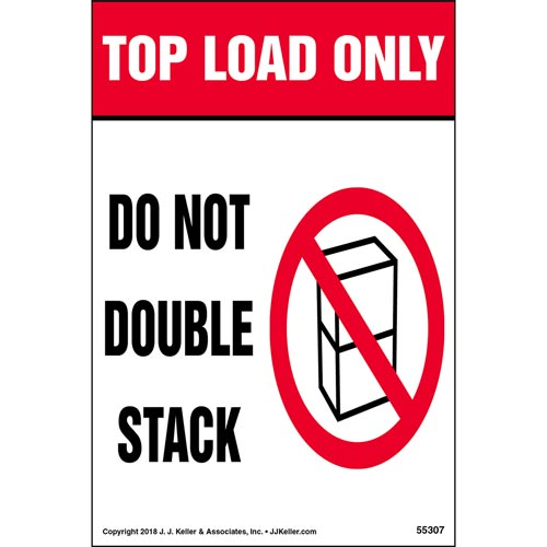 Top Load Only: Do Not Double Stack Shipping Label with Icon (014001)