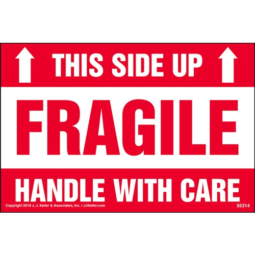 Fragile: This Side Up, Handle With Care Shipping Label (014007)