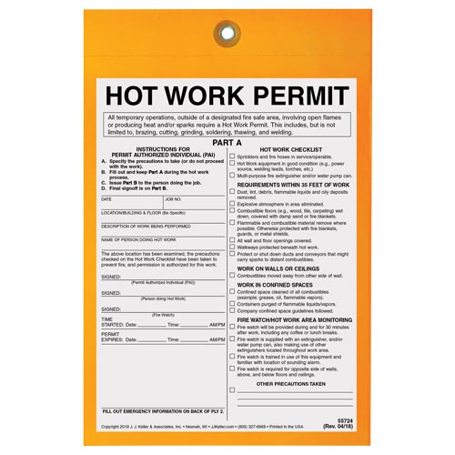 Hot Work Permit Tag: 30-Minute Fire Watch (014058)
