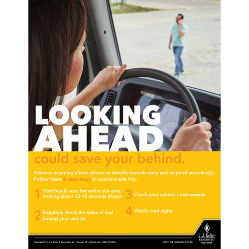 Looking Ahead Could Save Your Behind -  Driver Awareness Safety Poster (014259)