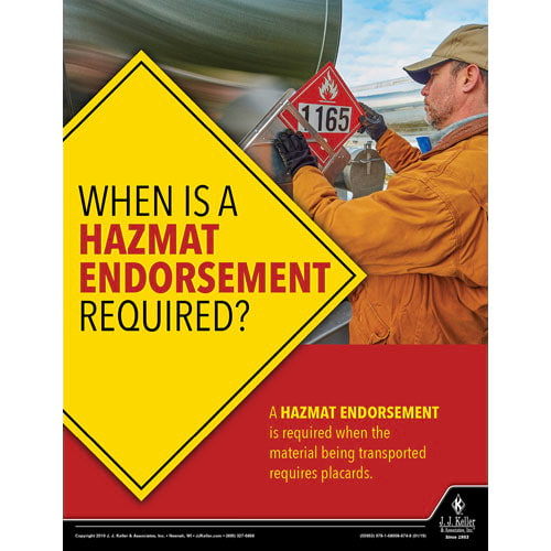 When Is A Hazmat Endorsement Required - Hazmat Transportation Poster (014261)