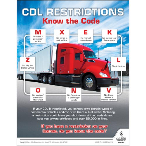 CDL Restrictions Know the Code -  Motor Carrier Safety Poster (014263)