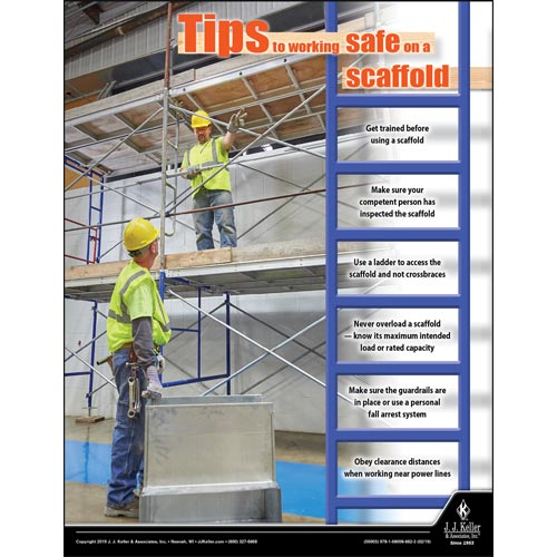 Working Safe On A Scaffold - Construction Safety Poster (014271)