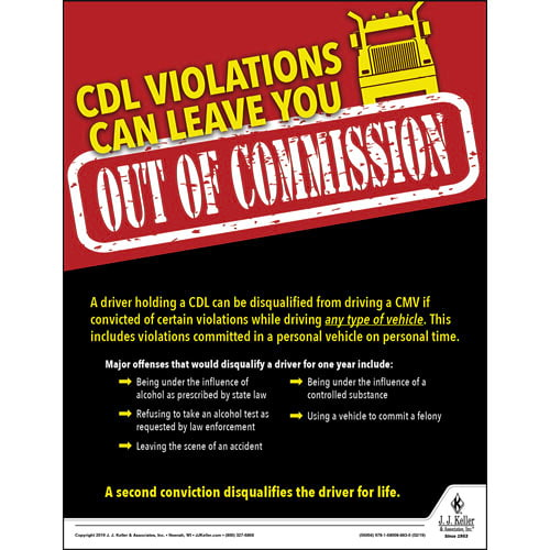 CDL Violations Can Leave You Out Of Commission - Driver Awareness Safety Poster (014272)