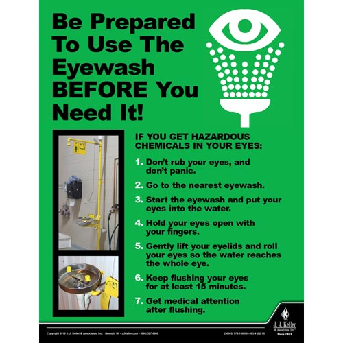 Be Prepred To Use The Eyewash - Workplace Safety Advisor Poster (014275)