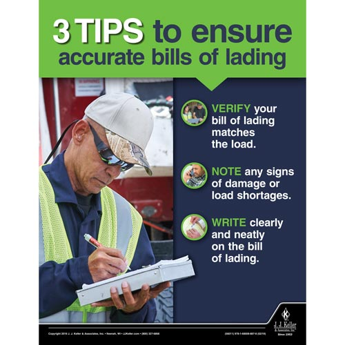 3 Tips To Ensure Accurate Bills of Lading - Motor Carrier Safety Poster (014277)