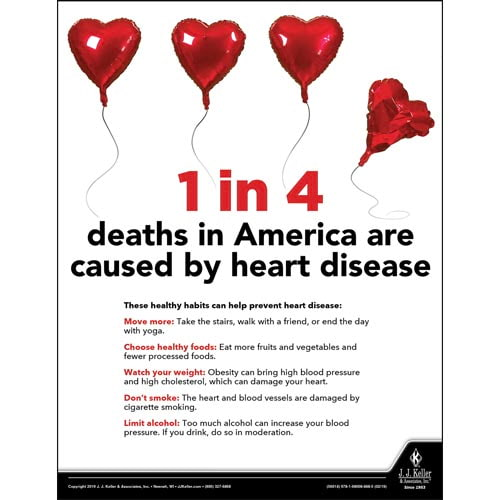 1 in 4 Deaths In America Are Caused By Heart Disease - Health & Wellness Awareness Poster (014278)
