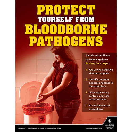 Protect Yourself From Bloodborne Pathogens - Workplace Safety Training Poster (014281)