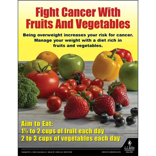 Fight Cancer With Fruits and Vegetables - Health & Wellness Awareness Poster (014290)