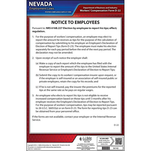 Nevada Tipped Employee Poster (014371)