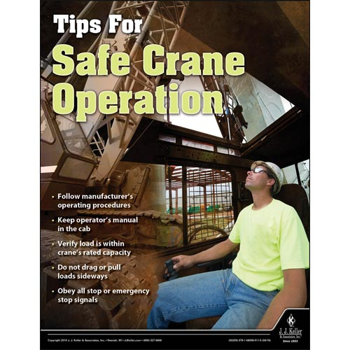 Tips For Safe Crane Operation - Workplace Safety Training Poster (014411)