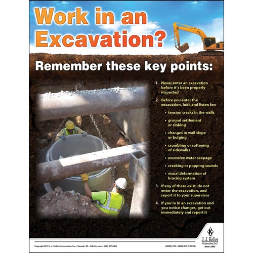 Work In An Excavation - Construction Safety Poster (014412)