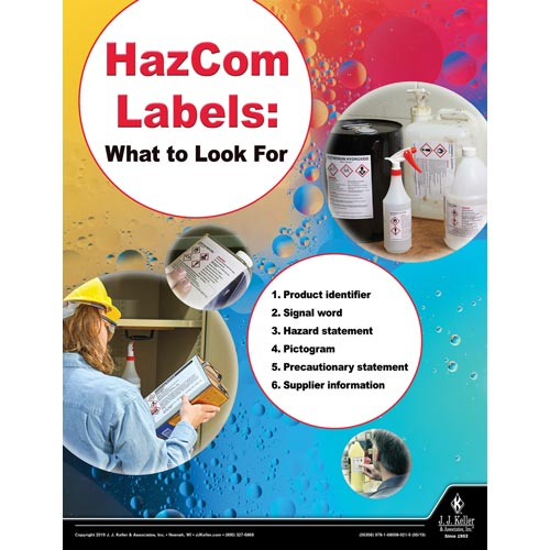HazCom Labels: What To Look For - Workplace Safety Training Poster (014422)