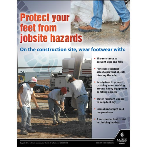 Protect Your Feet From Jobsite Hazards - Construction Safety Poster (014427)