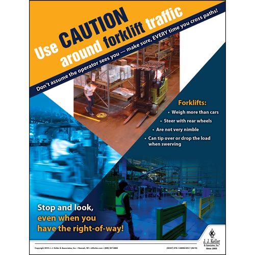 Use Caution Around Forklift Traffic - Workplace Safety Training Poster (014431)