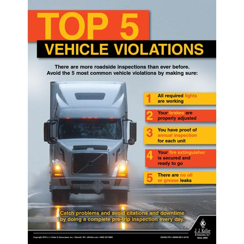Top 5 Vehicle Violations - Motor Carrier Safety Poster (014432)