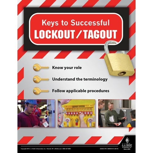 Keys to Successful Lockout/Tagout - Workplace Safety Training Poster (014437)