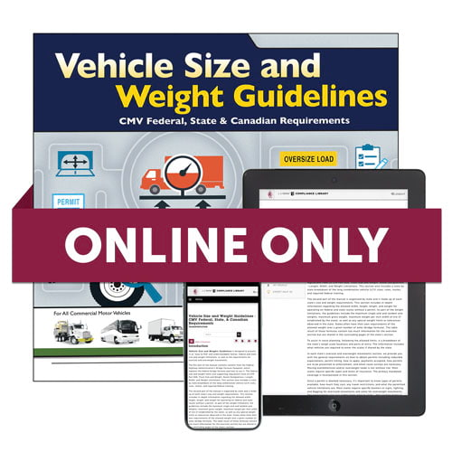 Vehicle Size and Weight Guidelines Online Edition (01420)