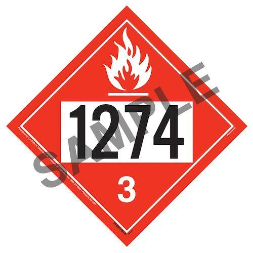 1274 Placard - Class 3 Flammable Liquid (014612)