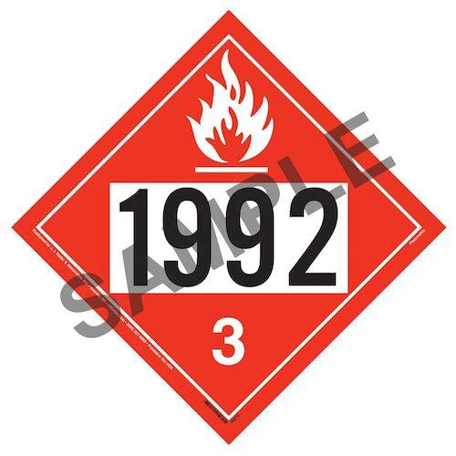 1992 Placard - Class 3 Flammable Liquid (014641)