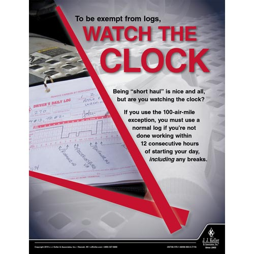 To Be Exempt From Logs Watch The Clock - Motor Carrier Safety Poster (014660)