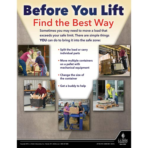 Before You Lift Find the Best Way - Workplace Safety Training Poster (015615)