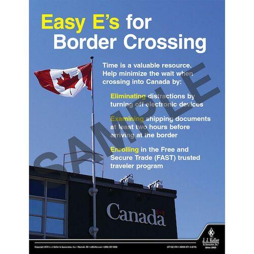 Easy E's for Border Crossing - Motor Carrier Safety Poster (015611)