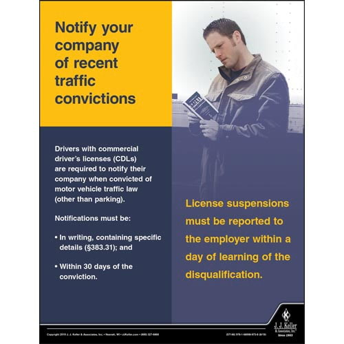 Notify Your Company of Recent Traffic Convictions - Transport Safety Risk Poster (015618)