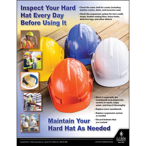 Inspect Your Hard Hat Every Day Before Using It - Construction Safety Poster (015623)